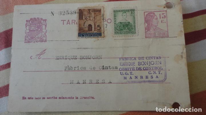 TARJETA.GABRIEL AYXELÁ.TRANSPORTE COL-LECTIVITZATS COMITE CONTROL UGT CNT.MANRESA 1937 (Sellos - España - Tarjetas)