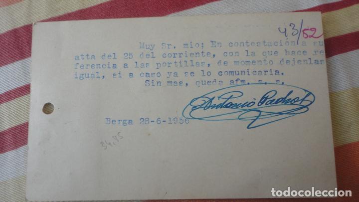 Sellos: ANTIGUA TARJETA HOJALATERIA Y ELECTRICIDAD.NEVERAS.MAQUINAS LAVAR.JOSE PADROS.BERGA 1956 - Foto 2 - 194178202
