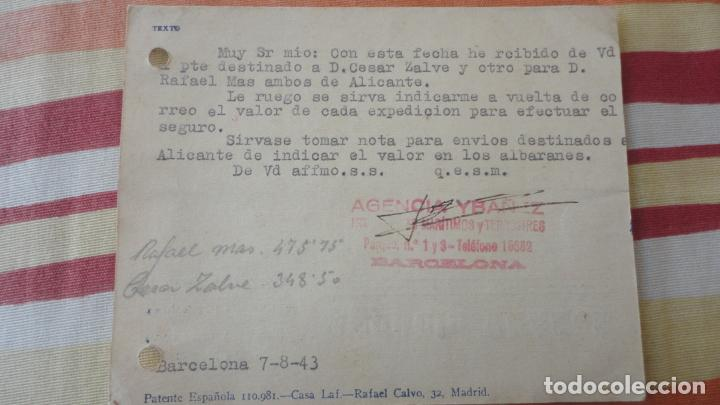 Sellos: ANTIGUA TARJETA.AGENCIA YBAÑEZ.TRANSPORTES MARITIMOS Y TERRESTRES.BARCELONA 1943 - Foto 2 - 194181720
