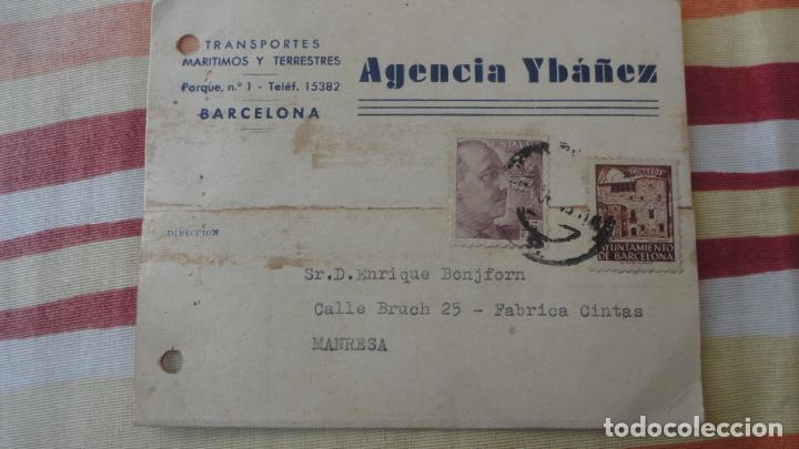 ANTIGUA TARJETA.AGENCIA YBAÑEZ.TRANSPORTES MARITIMOS Y TERRESTRES.BARCELONA 1943 (Sellos - España - Tarjetas)