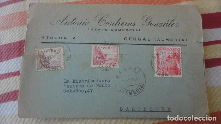 ANTIGUA TARJETA ANTONIO CONTRERAS GONZALEZ.AGENTE COMERCIAL.GERGAL.ALMERIA 1951 (Sellos - España - Tarjetas)