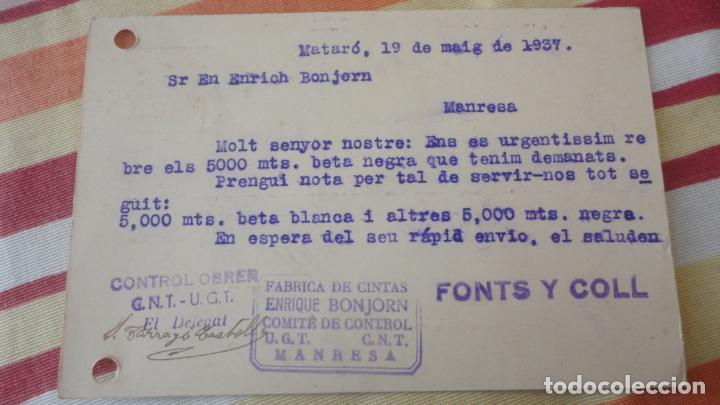 Sellos: ANTIGUA TARJETA.FONTS Y COLL.MATARO.COMITE CONTROL OBRERO UGT CNT.MANRESA.BONJORN.1937 - Foto 2 - 194183126