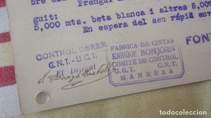 Sellos: ANTIGUA TARJETA.FONTS Y COLL.MATARO.COMITE CONTROL OBRERO UGT CNT.MANRESA.BONJORN.1937 - Foto 3 - 194183126