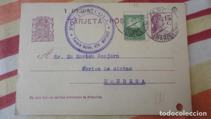 ANTIGUA TARJETA.FONTS Y COLL.MATARO.COMITE CONTROL OBRERO UGT CNT.MANRESA.BONJORN.1937 (Sellos - España - Tarjetas)