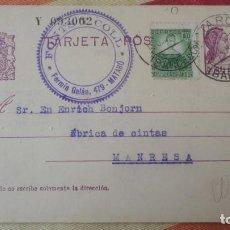 Sellos: ANTIGUA TARJETA.FONTS Y COLL.MATARO.COMITE CONTROL OBRERO UGT CNT.MANRESA.BONJORN.1937. Lote 194183126