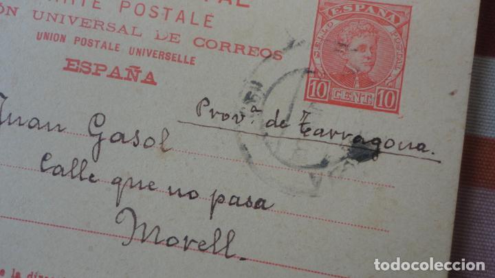 Sellos: ANTIGUA TARJETA.JUAN GASOL.EL MORELL.TARRAGONA-ALEJANDRO DE TUDELA.BARCELONA 1903 - Foto 2 - 194224400