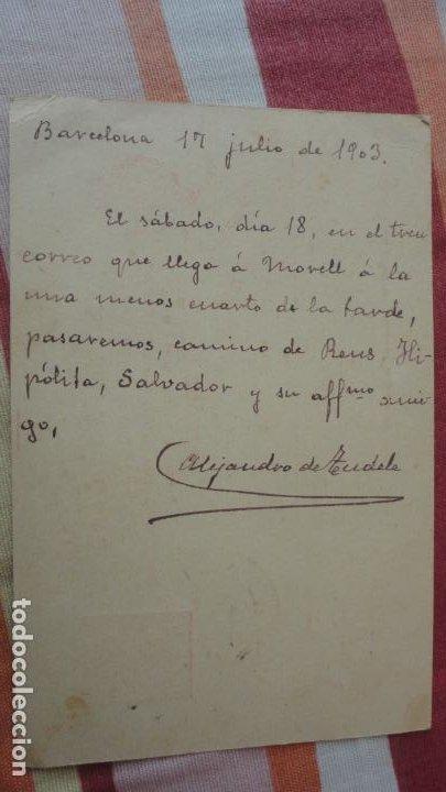Sellos: ANTIGUA TARJETA.JUAN GASOL.EL MORELL.TARRAGONA-ALEJANDRO DE TUDELA.BARCELONA 1903 - Foto 3 - 194224400
