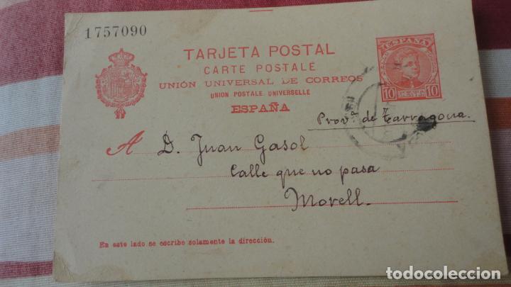 ANTIGUA TARJETA.JUAN GASOL.EL MORELL.TARRAGONA-ALEJANDRO DE TUDELA.BARCELONA 1903 (Sellos - España - Tarjetas)