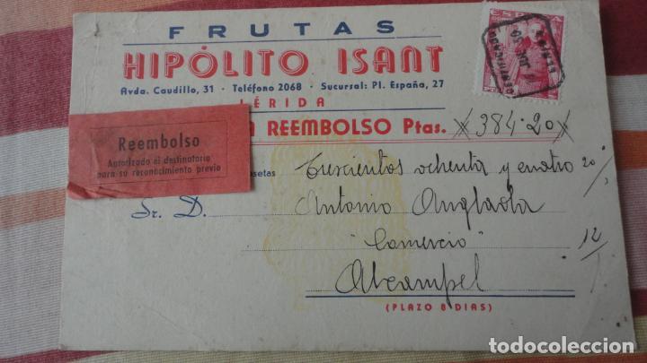 ANTIGUA TARJETA REEMBOLSO.FRUTAS HIPOLITO ISANT.LERIDA 1950 (Sellos - España - Tarjetas)
