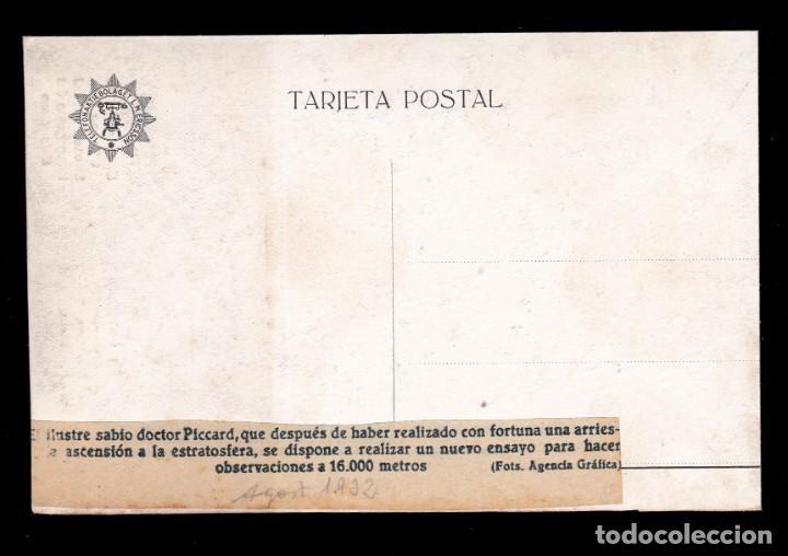 Sellos: *** RARA TARJETA POSTAL DOCTOR PICCARD ASCENSO A 16.000 METROS. AGOSTO 1932 *** - Foto 2 - 195077253