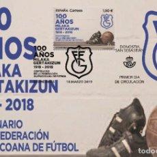 Sellos: SPAIN 2019 - CENTENARY FEDERACIÓN GUIPUZCOANA DE FÚTBOL MAXIMUM CARD. Lote 196922381