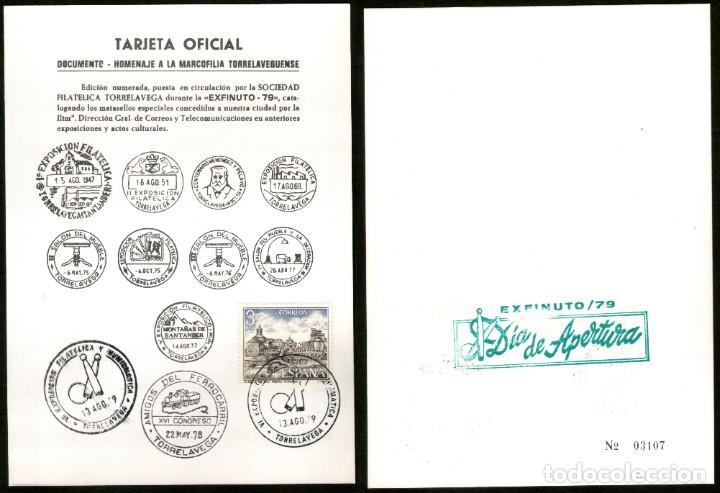 TARJETA OFICIAL MARCOFILIA TORRELAVEGUENSE - EXFINUTO 79 (Sellos - España - Tarjetas)
