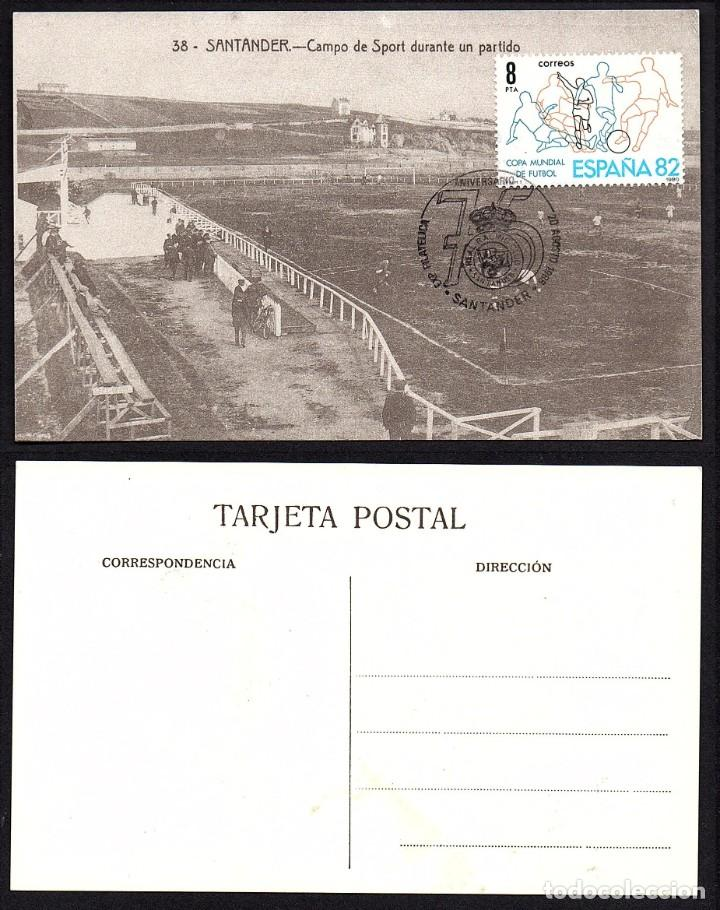 TARJETA 75 ANIV. REAL RACING SANTANDER CON MATASELLOS CONMEMORATIVO (Sellos - España - Tarjetas)