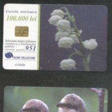 Sellos: ROMANIA 2000 TELEPHONE CARD FLOWERS BIRDS ROM 54B CT.044. Lote 198275892