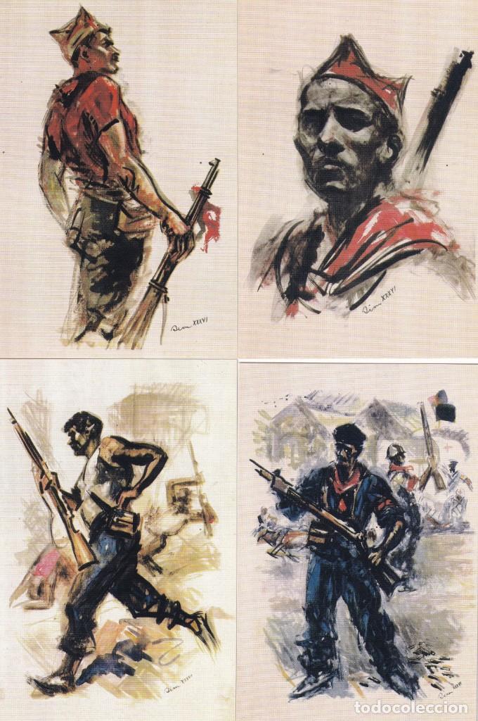 Sellos: GUERRA CIVIL ESPAÑOLA ESTAMPAS DE LA REVOLUCION ANTIFASCISTA. JUEGO COMPLETO DE 16 TARJETAS POSTALES - Foto 2 - 199914906
