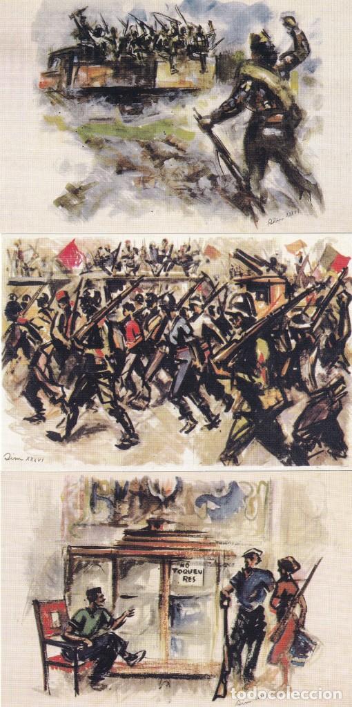 Sellos: GUERRA CIVIL ESPAÑOLA ESTAMPAS DE LA REVOLUCION ANTIFASCISTA. JUEGO COMPLETO DE 16 TARJETAS POSTALES - Foto 3 - 199914906