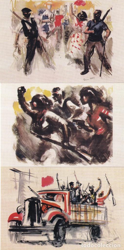 Sellos: GUERRA CIVIL ESPAÑOLA ESTAMPAS DE LA REVOLUCION ANTIFASCISTA. JUEGO COMPLETO DE 16 TARJETAS POSTALES - Foto 4 - 199914906