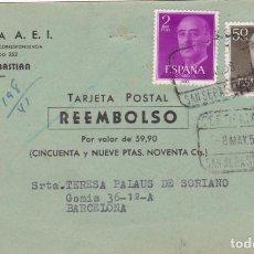 Selos: TARJETA POSTAL REEMBOLSO CIRCULADA Y FECHADA 7/5/58 VER FOTO ADICIONAL. Lote 201822002