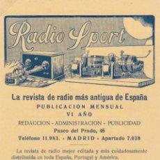 Selos: TARJETA POSTAL PUBLICIDAD RADIO SPORT VER F.ADICIONAL. Lote 201823362