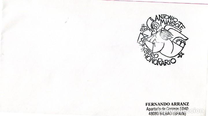 SOBRE CON EL MATASELLO ESPECIAL DE LA FRANQUICIA CARTERO HONORARIO DE ANTONIO MINGOTE (Sellos - España - Tarjetas)