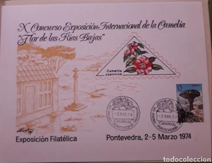 Sellos: Matasellos del primer día Pontevedra X exposicion la camelia - Foto 2 - 204382727