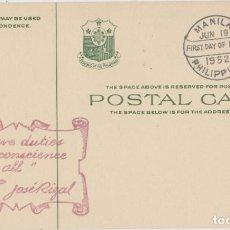 Sellos: LOTE B- TARJETA POSTAL FILIPINAS MATA SELOLOS MANILA 1952. Lote 206325850