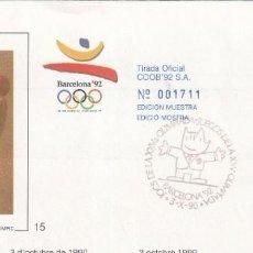 Francobolli: SOBRE PRIMER DE BARCELONA 1992. Lote 215073155