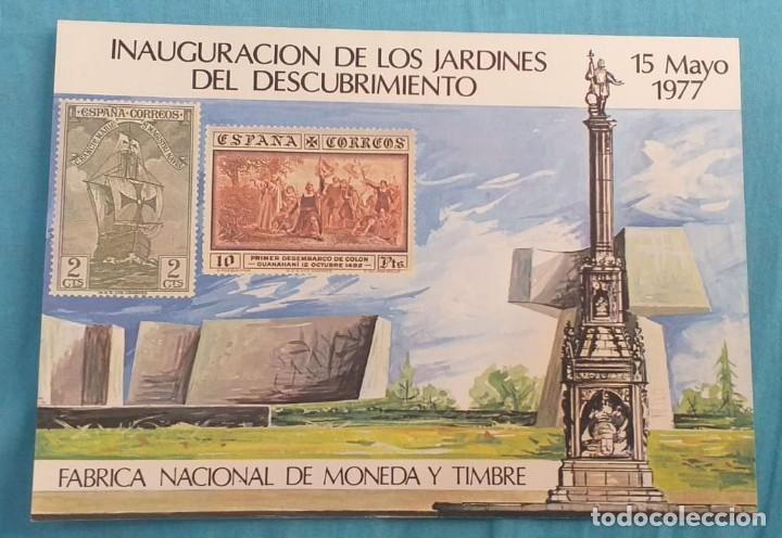 HOJITA INAUGURACIÓN DE LOS JARDINES DEL DESCUBRIMIENTO. (Sellos - España - Tarjetas)