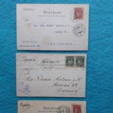 Sellos: LOTE DE 3 TARJETAS POSTALES. FRANQUEADAS DE NORUEGA A LA CORUÑA. AÑO 1909.. Lote 219614747