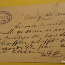 Sellos: ANTIGUA TARJETA.GEORGE A.HODGSON.MALAGA-JULIO MINK. SEVILLA 1895. Lote 220880741