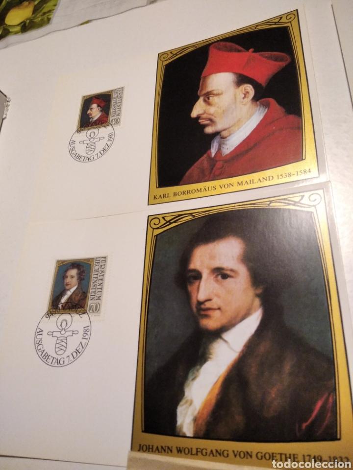 Sellos: Sobre con 4 tarjeta Maxima LIECHTENSTEIN personajes, 1981 - Foto 2 - 220995315