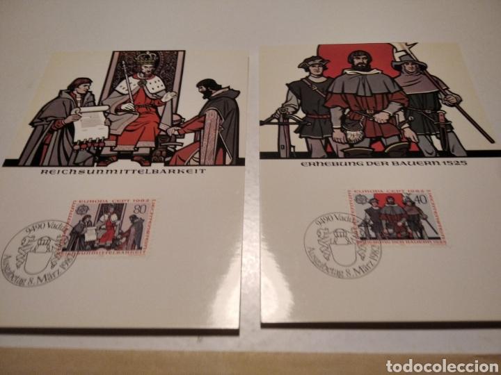 Sellos: Sobre con dos tarjeta Maxima LIECHTENSTEIN 1982 Rey y guerreros - Foto 2 - 220995980