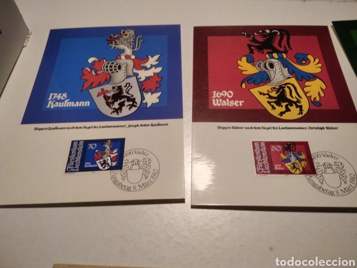 Sellos: Sobre con 4 tarjeta Maxima LIECHTENSTEIN escudos heráldicos 1982 - Foto 2 - 220996308