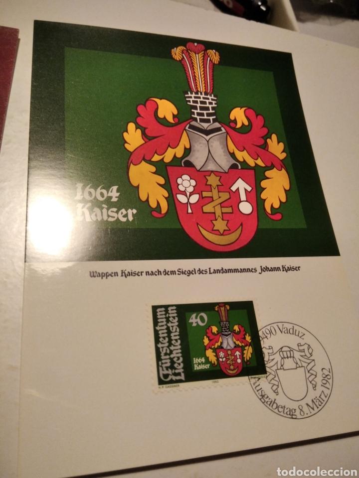 Sellos: Sobre con 4 tarjeta Maxima LIECHTENSTEIN escudos heráldicos 1982 - Foto 3 - 220996308