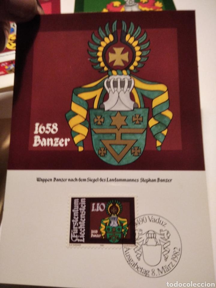 Sellos: Sobre con 4 tarjeta Maxima LIECHTENSTEIN escudos heráldicos 1982 - Foto 4 - 220996308