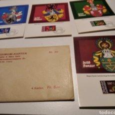 Sellos: SOBRE CON 4 TARJETA MAXIMA LIECHTENSTEIN ESCUDOS HERÁLDICOS 1982. Lote 220996308