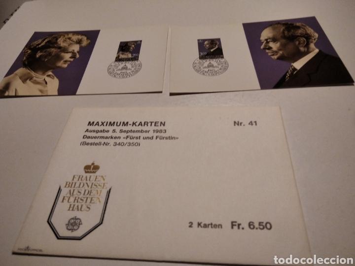 SOBRE CON DOS TARJETA MAXIMA LIECHTENSTEIN 1983 (Sellos - Extranjero - Tarjetas Máximas)