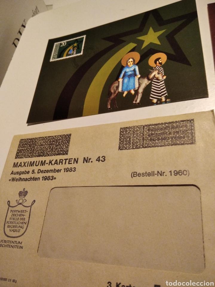 Sellos: Sobre n43 con tres tarjeta Maxima LIECHTENSTEIN 1983 Navidad - Foto 3 - 221156705