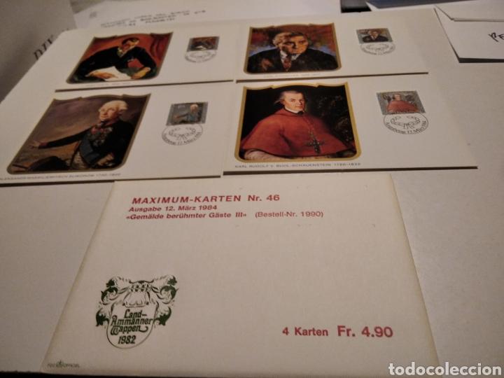 SOBRE CON 4 TARJETA MAXIMA LIECHTENSTEIN 1984 (Sellos - Extranjero - Tarjetas Máximas)