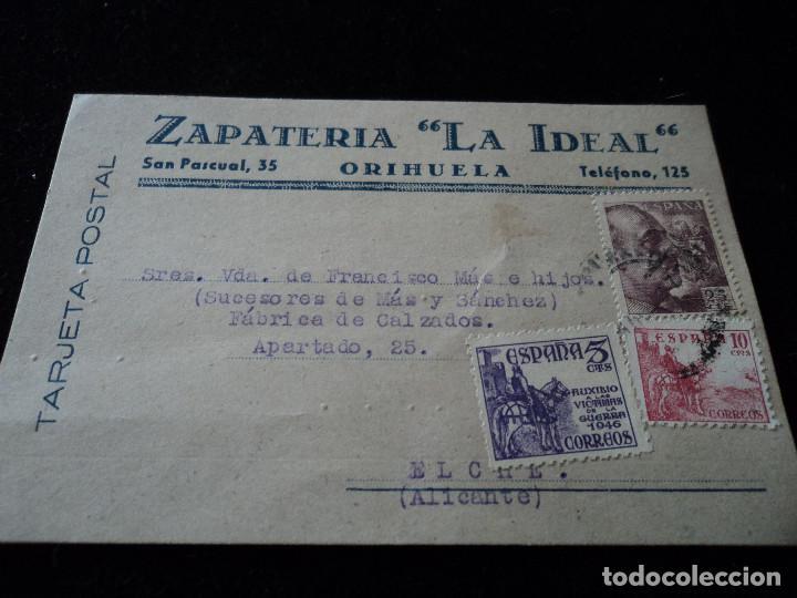 TARJETA POSTAL ZAPATERIA LA IDEAL ORIHUELA 1949 (Sellos - España - Tarjetas)