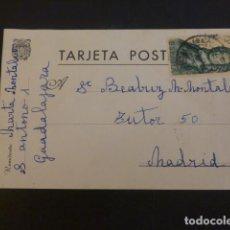 Sellos: TARJETA POSTAL CIRCULADA DE GUADALAJARA A MADRID. Lote 224411763