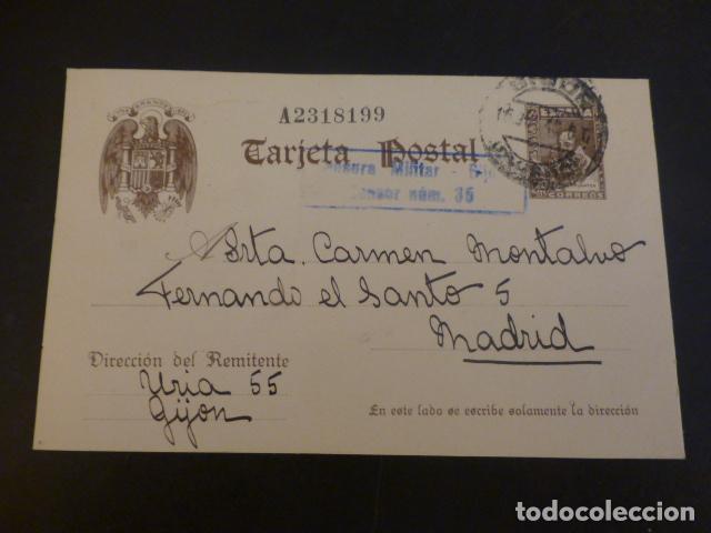TARJETA POSTAL CIRCULADA DE GIJON A MADRID 1940 MARCA CENSURA MILITAR GIJON CENSOR Nº 35 (Sellos - España - Tarjetas)