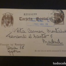 Sellos: TARJETA POSTAL CIRCULADA DE GIJON A MADRID 1940 MARCA CENSURA MILITAR GIJON CENSOR Nº 35. Lote 224411908