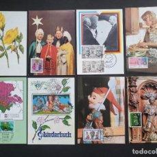 Sellos: 8 TARJETAS MÁXIMA ALEMANIA: FLOR, NAVIDAD, AMA DE CASA, MÚSICA, GUIÑOL, SANTO. Lote 226102110