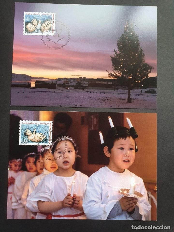 2 TARJETAS MÁXIMA GROELANDIA 2009: NAVIDAD, NADAL CHRISTMAS (Sellos - Extranjero - Tarjetas Máximas)