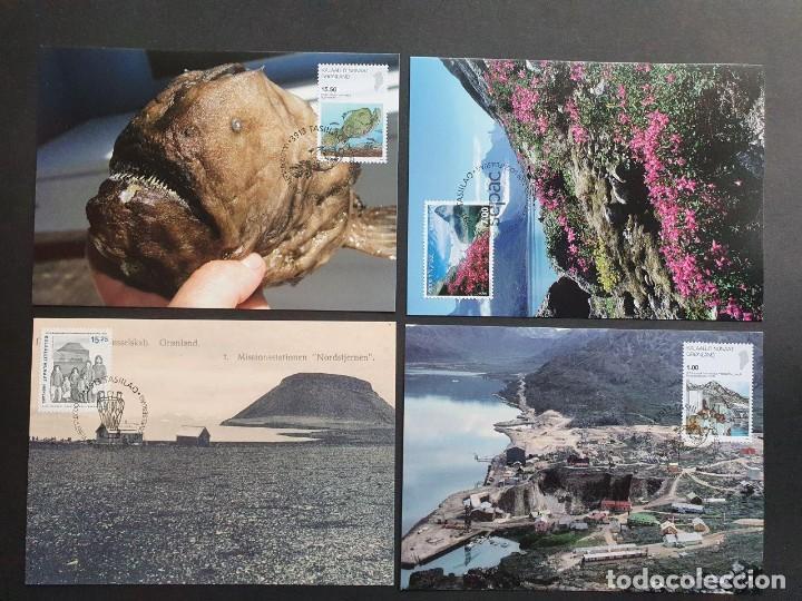 4 TARJETAS MÁXIMA GROELANDIA 2009: FISH, FIORDO, ESTACIÓN MISIONERA Y MINA (Sellos - Extranjero - Tarjetas Máximas)