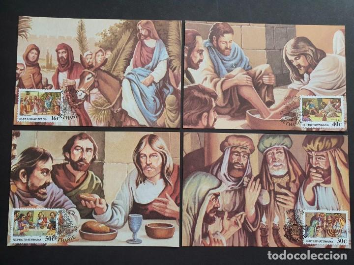 4 TARJETAS MÁXIMA BOTSUANA 1988: BIBLIA (BIBLE) SEGÚN JUAN Y MARCOS (Sellos - Extranjero - Tarjetas Máximas)