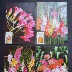 Sellos: 4 TARJETAS MÁXIMA SUDAFRICA 1985: FLORES - FLOWERS - BLUMEN - FLEURS. Lote 226119660