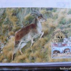 Sellos: TARJETA ETIOPIA CABRA MONTES DE ETIOPIA 1990. Lote 226669505