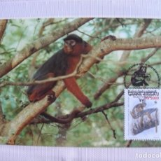 Sellos: TARJETA GUINEA BISSAU MONOS 1990. Lote 226670095